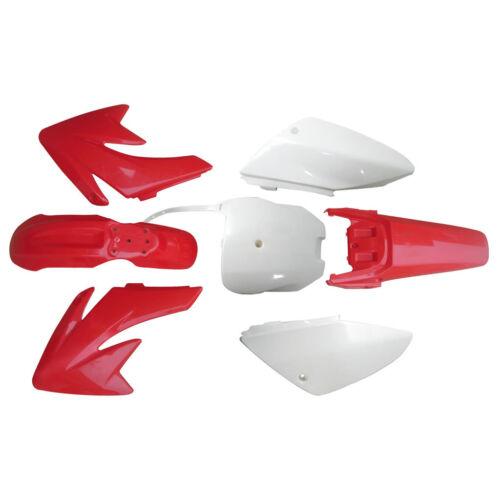 Red//White Fender Plastics for Honda CRF 70 Atomik Thumpstar 140-200 CC Dirt Bike