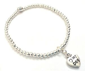 ~ LUCKY HORSESHOE CHARM SILVER BALL STRETCH STACKING BRACELET ~