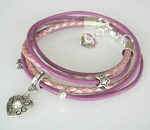 Leder-Wickelarmband-rosa-Herz-Armband-Sterne-geflochtenes-Leder
