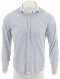 TOMMY-HILFIGER-Mens-Shirt-Large-Blue-Check-Cotton-New-York-Fit-KG09