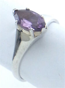 Vintage-Women-Ladies-7-75-US-Amethyst-Stone-Sterling-Silver-925-Ring-Size-G569