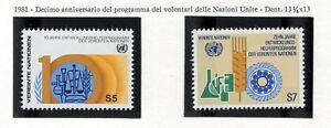 19321-UNITED-NATIONS-Vienna-1981-MNH-Volunteers