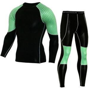 Mens Compression Outfits Sports Athletic Apparel Base Under Layer T Shirts Pants