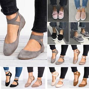 Women-Ankle-Strap-Ballerina-Ballet-Dolly-Pump-Flats-Loafer-Sneaker-Slip-On-Shoes