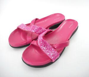 Croft-amp-Barrow-Women-039-s-Sz-9-M-Pink-Sandals-Beaded-Sparkly-Slides-Carolyn-Fuchsia