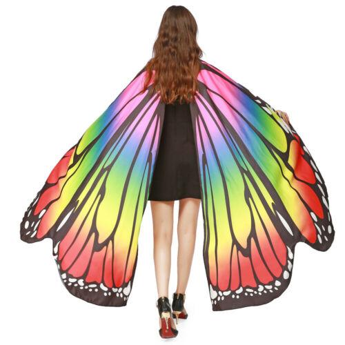 Women Butterfly Wings Cape Shawl Adult Fairy Pixie Cloak Costume Fancy Dress CO