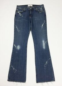 Paper-denim-amp-cloth-jeans-donna-W30-tg-44-new-zampa-bootcut-destroyed-blu-T4277