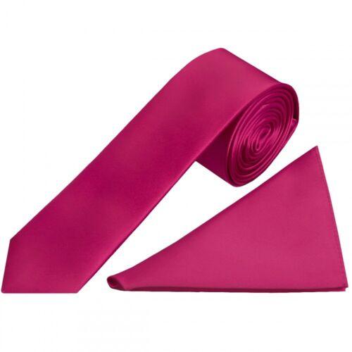 Handmade Plain Fuchsia Pink Satin Skinny Boys Tie and Pocket Square Set