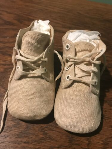 Vintage 1930's Small White Linen Baby Shoes Hi Top