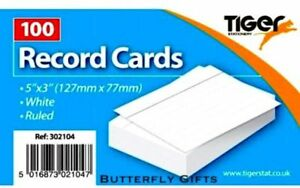 """Tiger Revision Flash Index Record Cards Students College Office 5''x 3"""" Ruled Wh"""