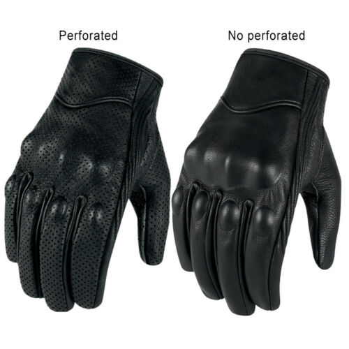 Touch Screen Motorcycle Gloves Goatskin Leather Perforated and Non-perforated
