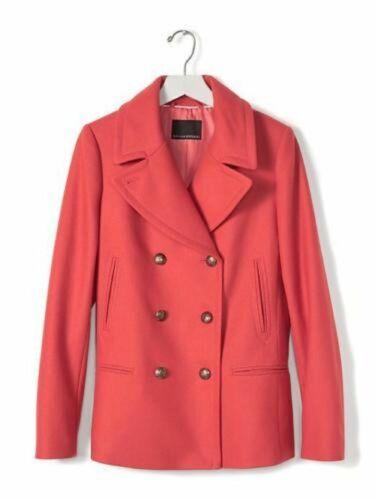 BANANA REPUBLIC MELTON ITALIAN WOOL CLASSIC PEACOAT COAT r1616 $268.00  XS S M