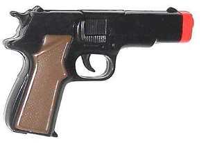Cap-Pistol-45-Style-Super-Cap-Gun-Black-with-Brown-Grips-Semi-Automatic-8-shot