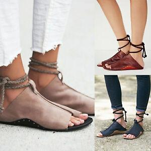 deeeb005970 Image is loading Womens-Gladiator-Sandals-Flats-Summer-Ankle-Strap-Flip-