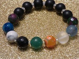 Damenarmband-Armband-Edelsteine-handgefertigt-Onyx-amp-Achat