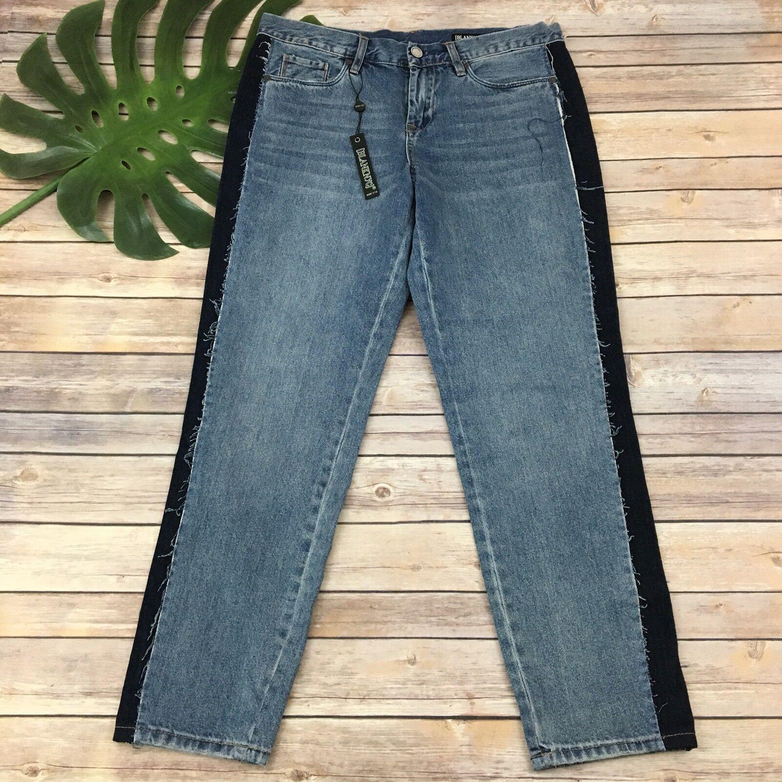 Blank NYC Crop Girlfriend Jeans Size 28 New Distressed Straight Leg Medium Wash