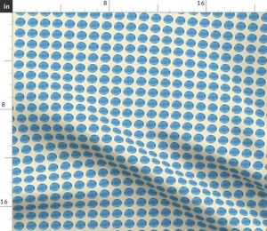 Ecru-Cream-Ivory-Blue-Dots-Spots-Polka-Fabric-Printed-by-Spoonflower-BTY