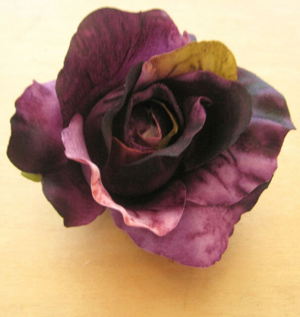 "3"" Variegated Purple Rose Poly Silk Flower Hair Clip,Wedding,Prom,Dance,Bridal"