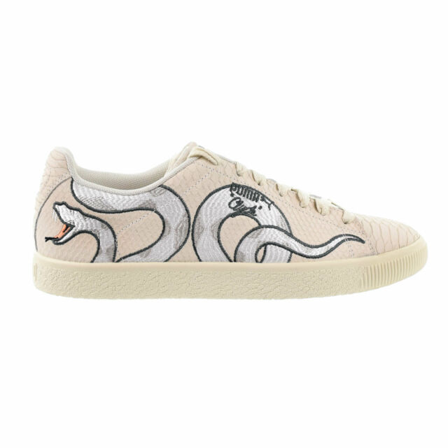 Puma Clyde Snake Embroidery Men's Shoes Whisper White Grey Violet 368111 01