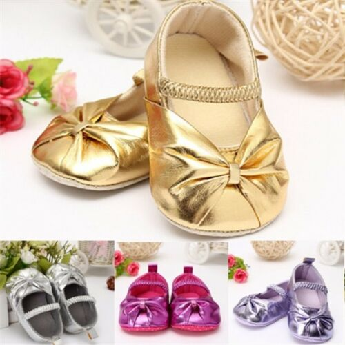 Baby Mary Janes Toddler Infant Soft Sole Bowknot Prewalker Leather Crib Shoes !