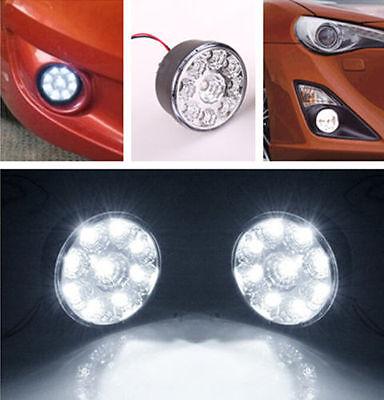 1 pair White 9LED Round Daytime Driving Running Light DRL Car Fog Lamp Headlight
