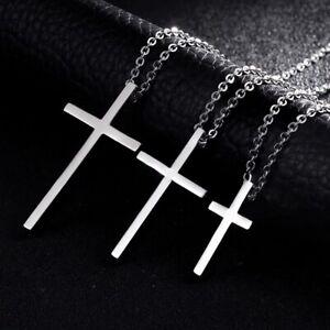 Damen-Herren-Kette-Halskette-mit-Kreuz-Cross-Anhaenger-aus-Edelstahl-3-Groessen