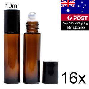 16 10ml STEEL ROLLER BALL BOTTLES thick amber glass ROLL ON BOTTLE Essential Oil