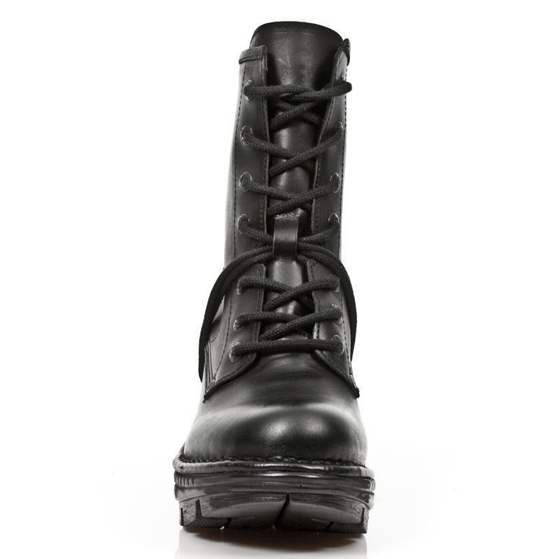 Newrock New Rock neotr 008-s18 Nero Nero Nero Donna Trail Gothic Rock Punk Stivali in Pelle 1a54a7
