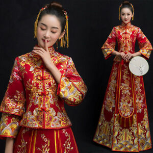 New-Women-Chinese-Wedding-Embroidery-Bride-Dress-Qipao-Cheongsam-Gown-Feast-Suit