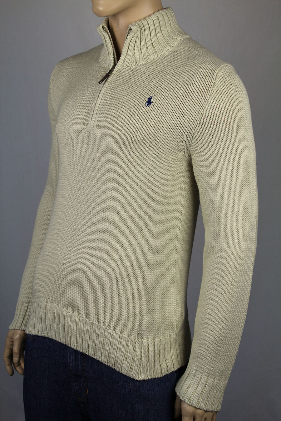 Polo Ralph Lauren Small S Cream Half 1/2 Half Cream Zip Sweater blu Pony NWT 3e1125