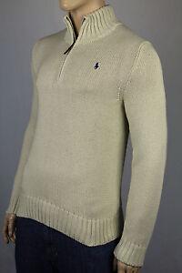 Polo Ralph Lauren Small S Cream 1/2 Half Zip Sweater Blue Pony NWT