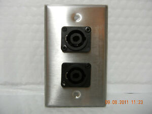New-Single-Gang-S-S-Wall-Plate-w-2-Neutrik-NL4MP