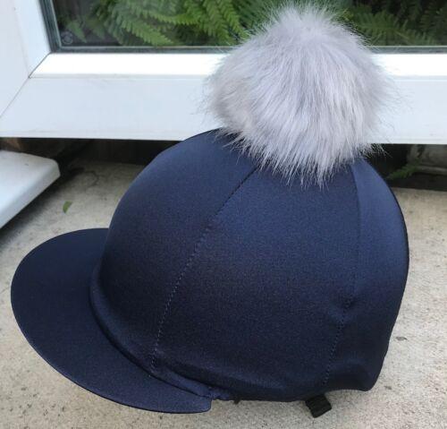 Gris Argent extra large Fausse Fourrure Pompon Équitation Chapeau soie tête Cap couverture bleu marine