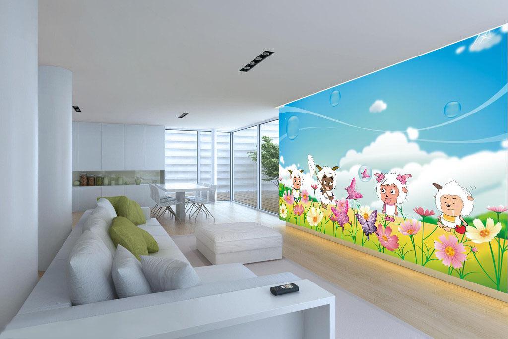 3D Sheep Cartoon Butterfly 5589 Wall Paper Wall Print Decal Wall AJ WALLPAPER CA