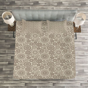 Beige-Quilted-Bedspread-amp-Pillow-Shams-Set-Circular-Composition-Lace-Print