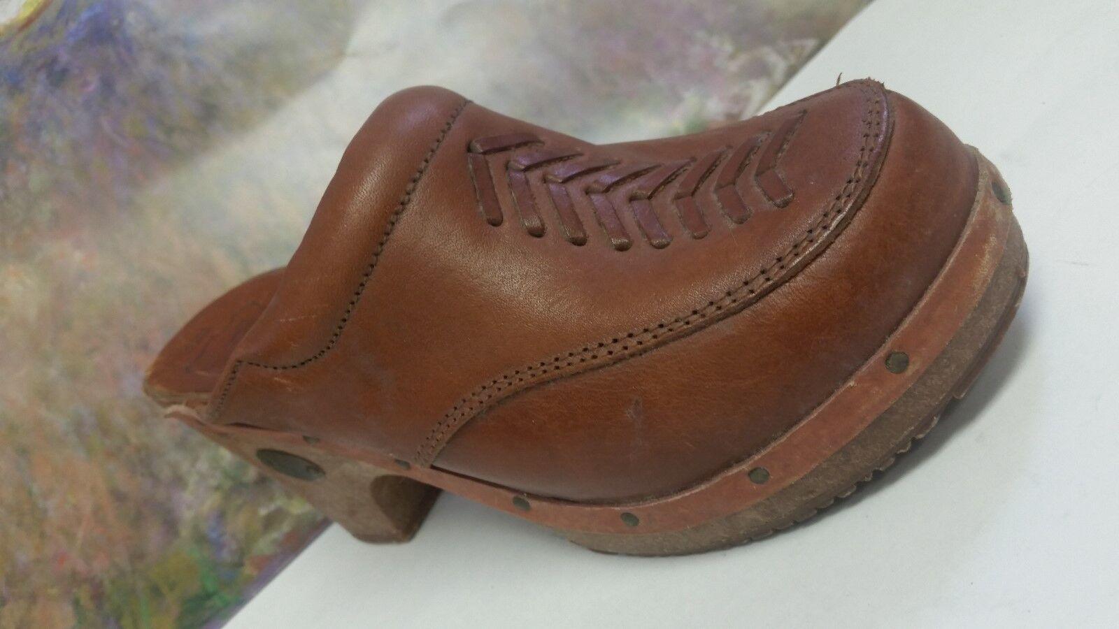 Vintage Rapallo Clogs Größe 7 Wooden Wedge Braun Leder Fantastic Condition