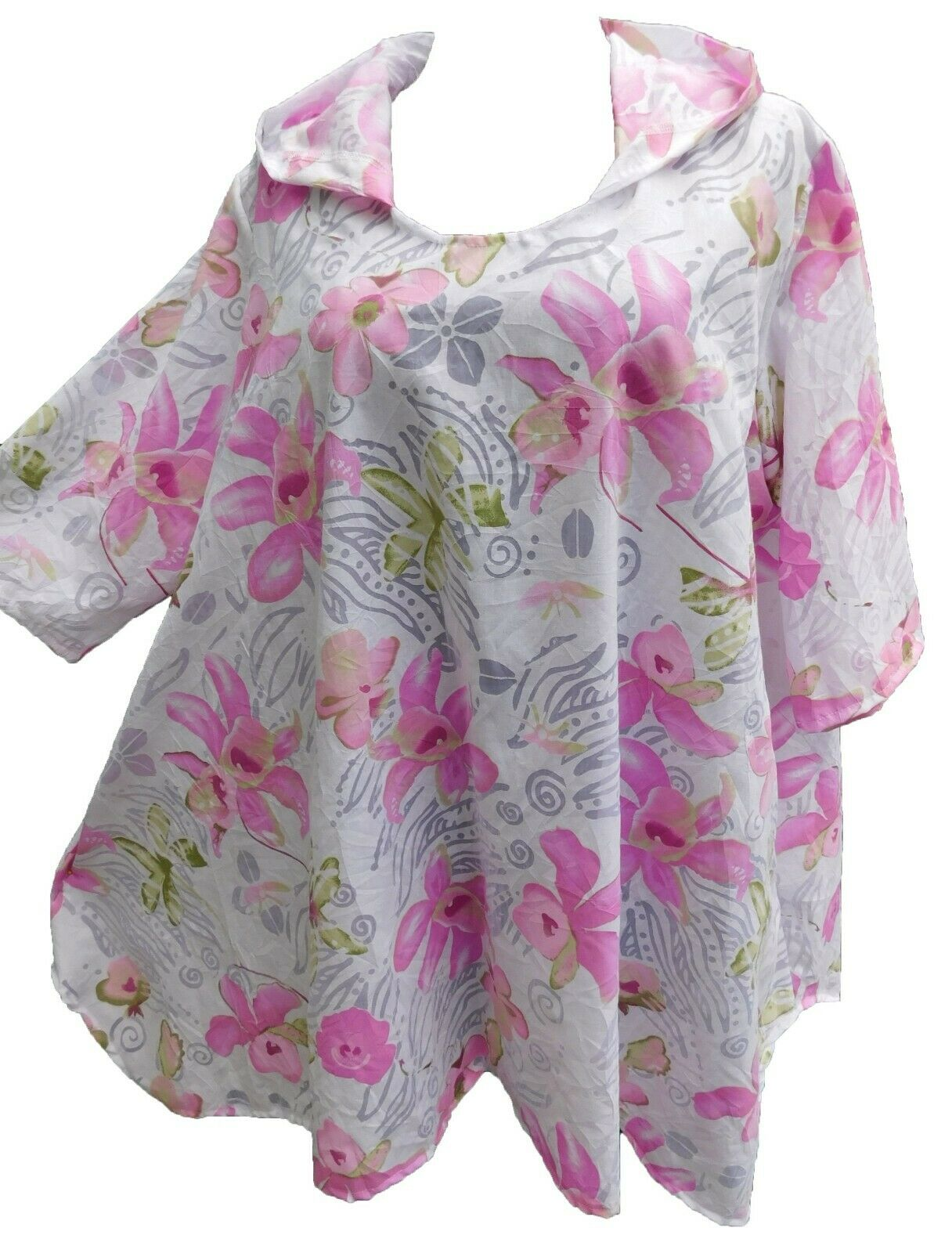 MEXXOO DESIGN bluese Tunika Shirt mit Kapuze Viskose pink white geblümt Gr. 52-54