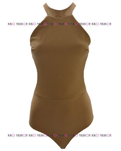 WOMENS LADIES HIGH HALTERNECK BACKLESS STRAP CREPE LEOTARD BODYSUIT DRESS TOP