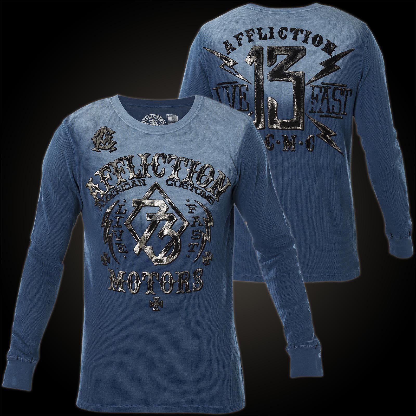 AFFLICTION Pullover Live Fast Motors Blau Sweatshirts