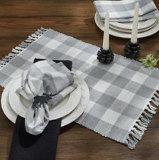 Park Designs Wicklow Fringed Checked Placemat Set of 4, Dove Gray