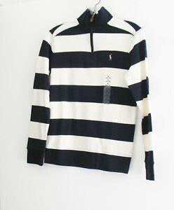 Polo Ralph Lauren Boy/'s Navy Cream Stripe S//S Tee
