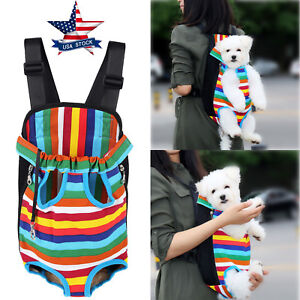 Small-Pet-Cat-Puppy-Dog-Carrier-Front-Pack-Hiking-Backpack-Head-Legs-Out-Rainbow