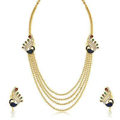 Sukkhi Classy Peacock 4 String Gold Plated Necklace Set For Women(N71248GLDPK