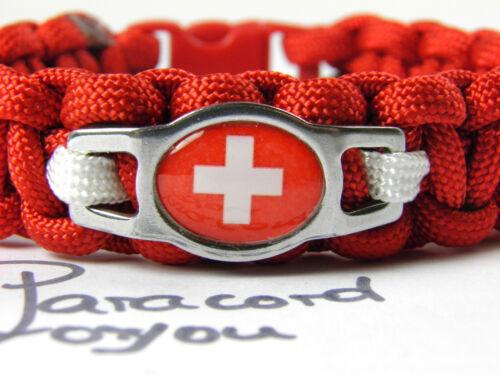 WM 2018 Schweiz Paracord Armband-Edelstahl Charm-Flagge-Fußball-Fanartikel