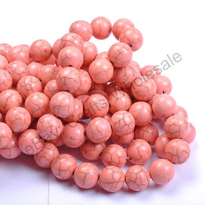 6MM 8MM 10MM 12MM 14MM Howlite Pink Turquoise Gemstone Round Loose Beads