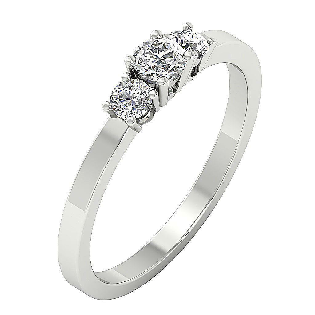 Three Stone Engagement Ring SI1 G 0.60 Ct Round Diamond 14K Whaite gold 3.80MM