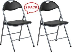Wondrous Details About Lot Of 2 New Black Vinyl Metal Padded Folding Chairs With Carrying Handle Pabps2019 Chair Design Images Pabps2019Com