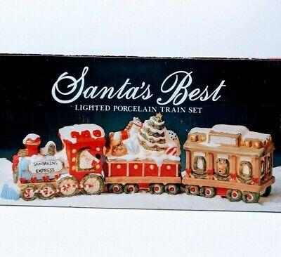 Vintage Santas Best Lighted Porcelain Train Set Christmas Decoration 3 Pc Ebay