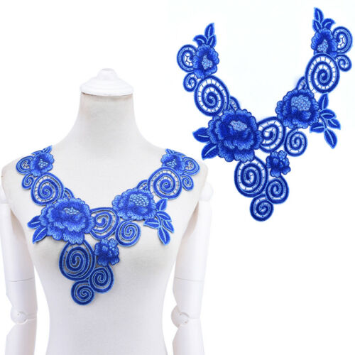 Embroidered floral lace neckline neck collar trim clothes sewing applique 1pc FO