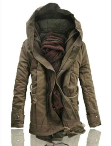 NEW Winter Mens Military Trench Coat Jacket Hooded Parka Thick Cotton outwear ##